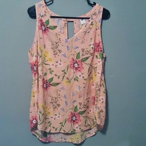 OLD NAVY Floral Sleeveless VNeck/Keyhole Top szL…